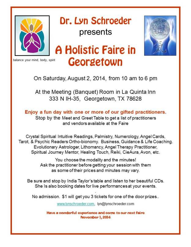 Georgetown Holistic Faire on August 2, 2014
