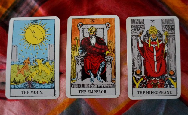 Pisces: The Moon ~ Aries: The Emperor ~ Taurus: The Hierophant