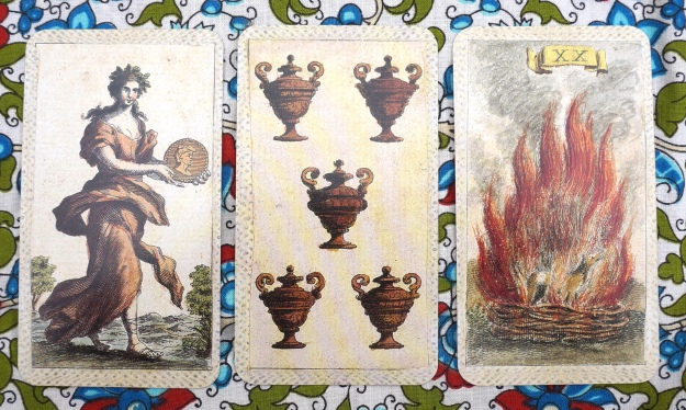 Aquarius: Queen of Coins  ~ Pisces: 5 of Cups ~ Aries: Fire