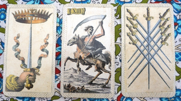 Leo: Ace of Swords  ~ Virgo: Death ~ Libra: 9 of Swords