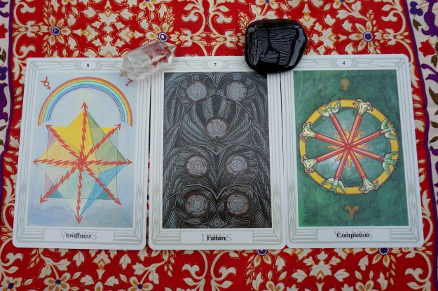 Libra: 8 of Wands ~ Scorpio: 7 of Disks ~ Sagittarius: 4 of Wands