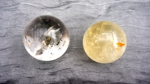 Two Moons - one of Clear Quartz, the other of Calcite.