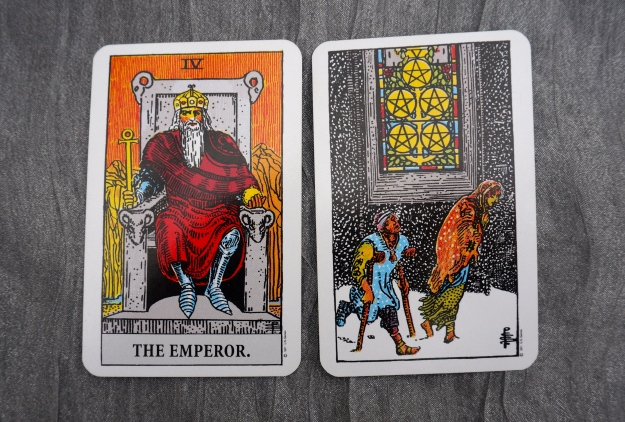 IV The Emperor & 5 of Pentacles