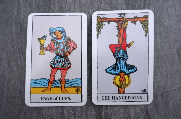 Page of Cups & XII The Hanged Man