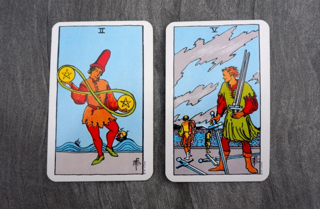 2 of Pentacles & 5 of Swords