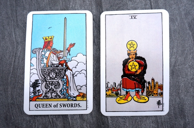 Queen of Swords & 4 of Pentacles