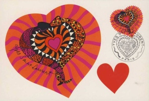 Colorful hearts with two snakes entwined to make one layer of the heart.