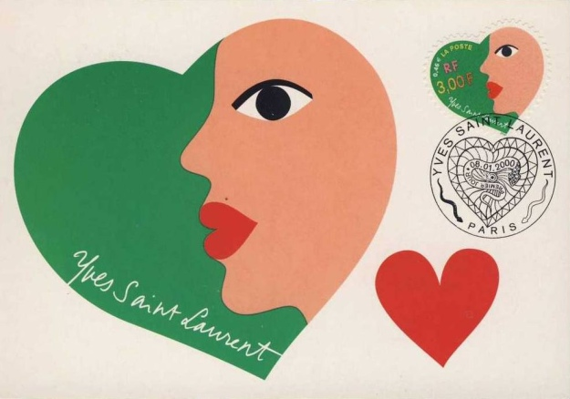 Yves Saint Laurent Valentine's Stamp with a woman's profile on a green heart.
