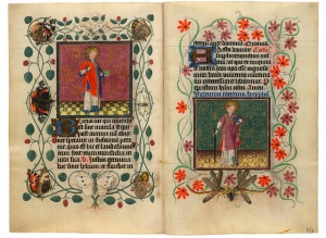 two vellum pages that are illuminated and in Latin